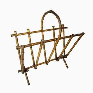 Revistero Mid-Century de bambú artificial