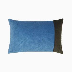 Light Blue & Army Green Corduroy Edge Cushion by Louise Roe
