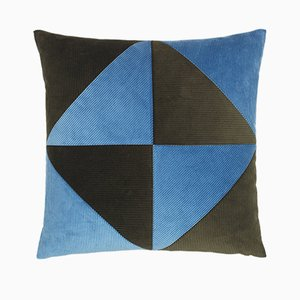 Army Green & Light Blue Corduroy Triangle Cushion by Louise Roe