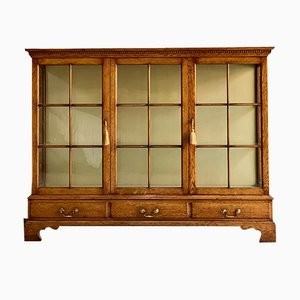 Vintage English Oak & Glass Bookcase, 1920s