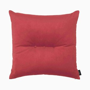 Coral Red Velvet 3 Dots Cushion by Louise Roe