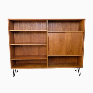 Danish Teak Shelf with Sliding Doors, 1960s