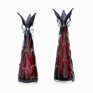 Vintage Red Art Glass Vases, 1970s, Set of 2