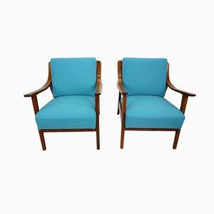 Dänische Armlehnstühle aus blauem Teak, 1960er, 2er Set