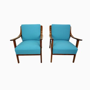 Danish Blue Teak Armchairs, 1960s, Set of 2