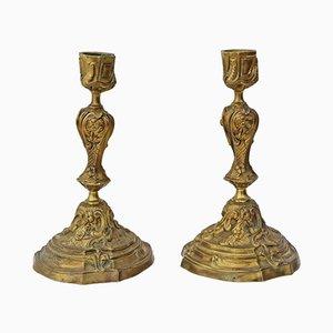 Portacandele antichi in bronzo dorato