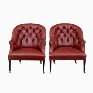 19th-Century Leather Lounge Chairs, Set of 2