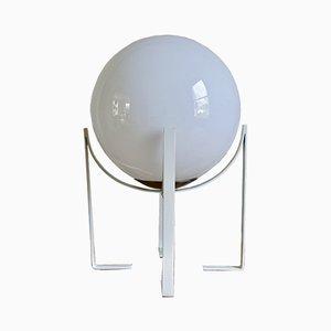 Runde italienische Vintage Glaslampe in Weiß