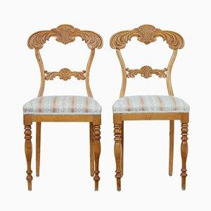 Antike geschnitzte Stühle aus Birke, 2er Set