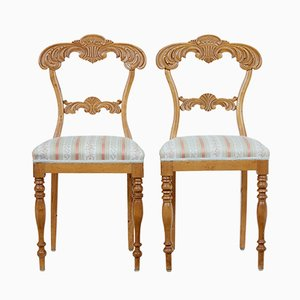 Antique Carved Birch Chairs, Set of 2