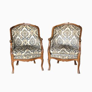 French Walnut Upholstered Armchairs, 1890s, Set of 2