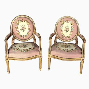 French Louis XVI Painted Arm Chairs, Set of 2