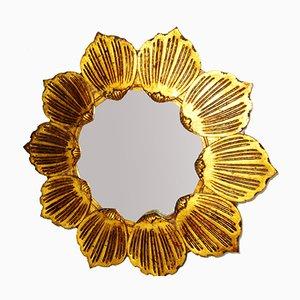 Espejo en forma de sol vintage de madera tallada