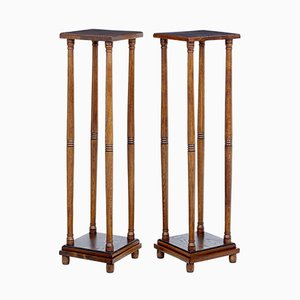 Antique Arts and Crafts Oak Stands, Set of 2