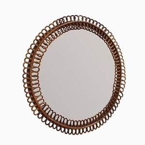 Round Vintage Italian Rattan Wall Mirror,1960s