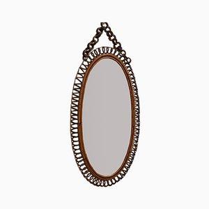 Specchio da parete ovale in vimini, Italia, anni '60