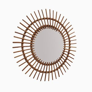 Large Mid-Century French Rattan Sunburst Mirror, 1960s