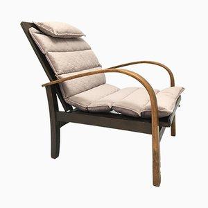 Deutscher Vintage Sessel mit Gestell aus Bugholz & pinkem Stoffbezug von Carl Bollmann