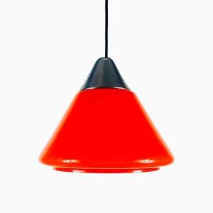 Lampe à Suspension en Verre Rouge de Limburg, 1970s