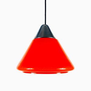 Red Glass Pendant Lamp from Limburg, 1970s