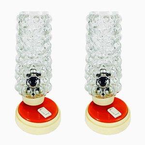 Lampes de Bureau Vintage en Verre Bullé, 1970s, Set de 2