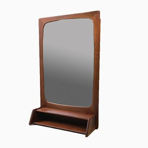 Espejo consola Mid-Century de teca con estante, años 60