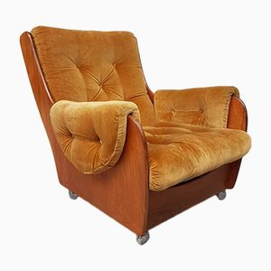 Mid-Century Teak & Velvet Saddleback Lounge Chair from G-Plan