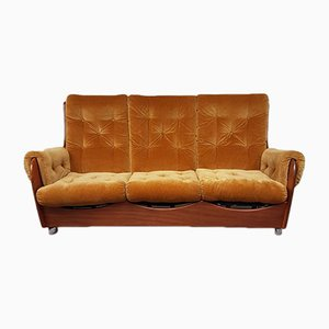 Mid-Century Teak & Velvet Saddleback Sofa from G-Plan, 1970s
