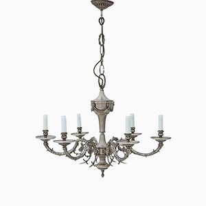 Large Vintage Silvered Brass Chandelier