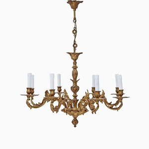 Vintage 8-Arm Ormolu Brass Chandelier