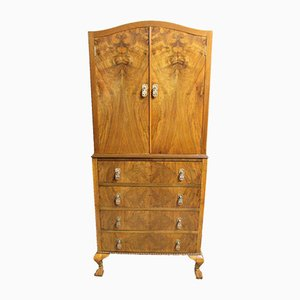 Burr Walnut Linen Press Wardrobe, 1920s