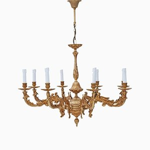 Lámpara de araña vintage de latón con ocho brazos