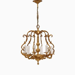 Vintage 6 Arm Ormolu & Brass Bird Cage Chandelier