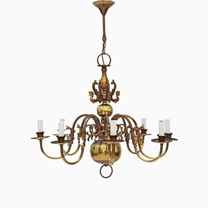 Large Vintage Flemish Brass 8 Arm Chandelier