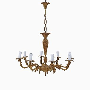 Vintage 8-Arm Ormolu Brass Bronze Chandelier