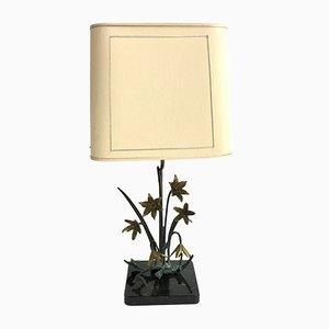 Lámpara de mesa vintage floral de bronce, años 70