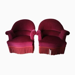 Vintage Velvet Tub Chairs, Set of 2