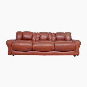 Vintage Brown Leather Sofa, 1970s