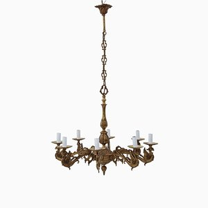 Vintage 8 Arm Ormolu Brass Chandelier
