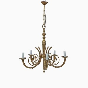 Antique Vintage 5 Arm Brass & Ormolu Chandelier