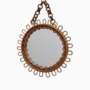 Round Italian Rattan Wall Mirror, 1960s