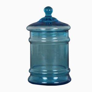 Frasco danés de vidrio azul, años 50