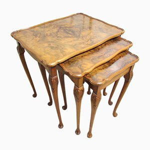 Burr Walnut Nest of 3 Table Set