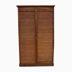 Oak Double Tambour Front Cabinet, 1930s