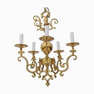 Lampadario Ormolu vintage a 5 braccia in ottone