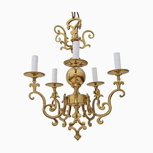 Vintage Five-Arm Brass Ormolu Chandelier