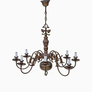 Vintage 8 Arm Brass and Bronze Flemish Chandelier