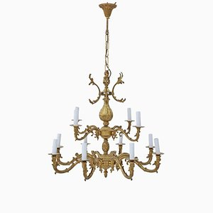 Vintage 12 Arm Ormolu Brass Chandelier