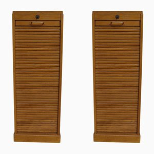 Oak Tambour Front Cabinets, 1950s, Set of 2