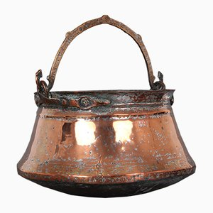 Maceta danesa grande de cobre, década de 1800